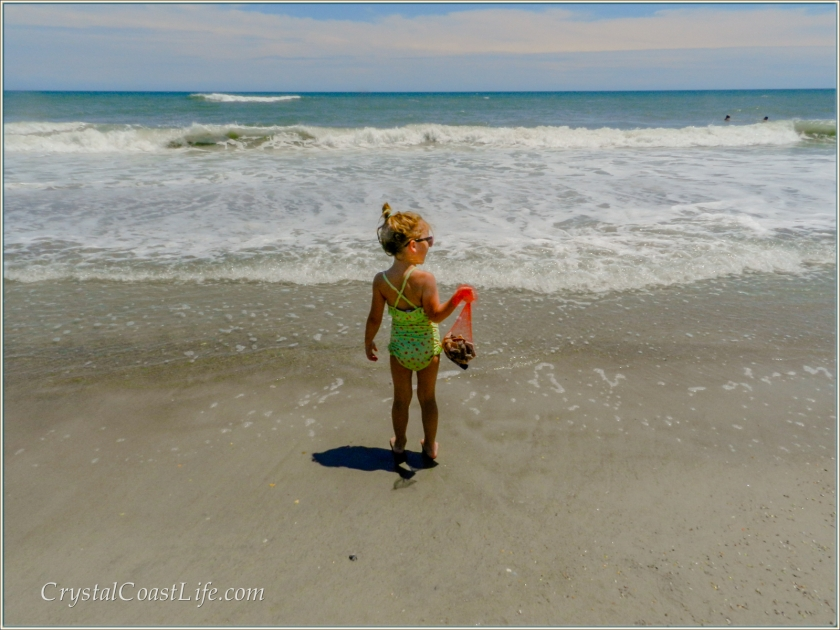 Little girl holding a bag of shells & looking out over the ocean
