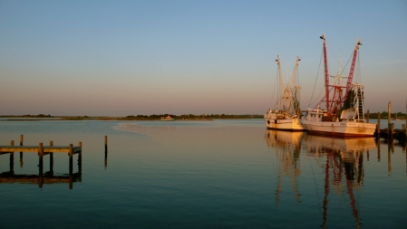 Shrimp boats at Clyde Phillips in Swansboro, NC